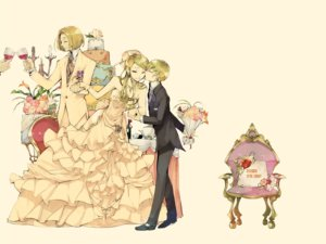 Rating: Safe Score: 51 Tags: 35_(pixiv) cake dress drink flowers food gloves headdress kiss long_hair male necklace short_hair suit wedding wedding_attire yellow User: noitis