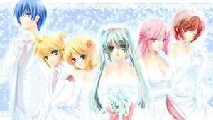 Rating: Safe Score: 85 Tags: aqua_eyes aqua_hair blonde_hair blue_eyes blue_hair brown_hair elbow_gloves flowers gloves hatsune_miku kagamine_len kagamine_rin kaito megurine_luka meiko nekodon pink_eyes pink_hair vocaloid wedding_dress User: HawthorneKitty