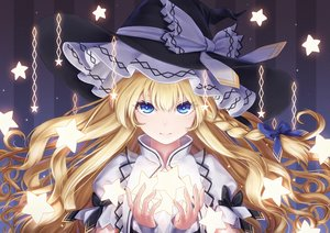 Rating: Safe Score: 101 Tags: aqua_eyes blonde_hair bow braids close dtvisu hat kirisame_marisa long_hair stars touhou witch witch_hat User: BattlequeenYume