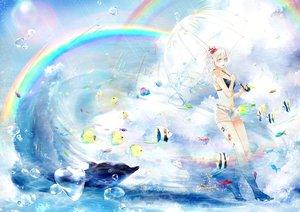 Rating: Safe Score: 115 Tags: animal ayakami blue_eyes boots bubbles fish navel original rain rainbow scenic shorts umbrella water white_hair windmill_oasis User: mattiasc02