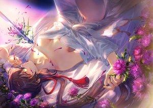 Rating: Safe Score: 83 Tags: breasts brown_hair cleavage flowers long_hair mashu_003 no_bra original petals red_eyes rope User: BattlequeenYume