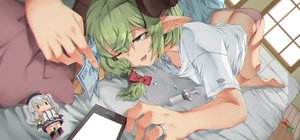 Rating: Questionable Score: 29 Tags: anthropomorphism ass barefoot bed bow bra braids doll green_hair kantai_collection kashima_(kancolle) long_hair original panties phone pointed_ears ponytail underwear wink zuoteng_lucha User: BattlequeenYume