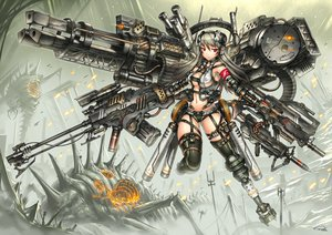 Rating: Safe Score: 145 Tags: aliasing breasts cleavage gia gray_hair gun long_hair navel original red_eyes thighhighs weapon User: SciFi