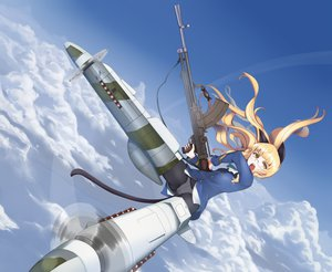 Rating: Safe Score: 101 Tags: animal_ears blonde_hair clouds gun panties perrine-h_clostermann shiro-inu sky strike_witches underwear weapon User: opai