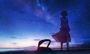 Rating: Safe Score: 39 Tags: clouds kneehighs landscape mifuru night original scenic seifuku short_hair skirt sky stars sunset water User: BattlequeenYume