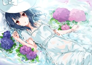Rating: Safe Score: 85 Tags: black_hair bow dress flowers hat idolmaster idolmaster_shiny_colors minikon morino_rinze red_eyes see_through short_hair summer_dress water User: BattlequeenYume
