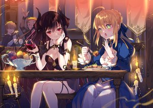 Rating: Safe Score: 97 Tags: artoria_pendragon_(all) black_hair blonde_hair breasts cleavage crossover dress drink fate_(series) fate/stay_night food forte_(shingeki_no_bahamut) fruit green_eyes horns long_hair male red_eyes saber shadowverse tagme_(character) yuzhi User: RyuZU
