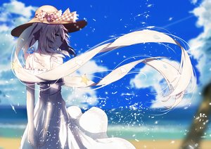 Rating: Safe Score: 117 Tags: aliasing aqua_eyes beach clouds dress fate/grand_order fate_(series) long_hair marie_antoinette_(fate/grand_order) re:rin sky summer_dress twintails water User: luckyluna