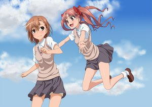 Rating: Safe Score: 64 Tags: 2girls bow brown_eyes brown_hair clouds iyakun long_hair misaka_mikoto pink_eyes school_uniform shirai_kuroko short_hair skirt sky socks to_aru_kagaku_no_railgun to_aru_majutsu_no_index twintails User: shaneoyo