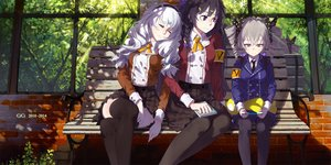 Rating: Safe Score: 191 Tags: black_eyes black_hair book braids bronya_zaychik cici gray_eyes gray_hair headband honkai_impact kiana_kaslana long_hair pantyhose raiden_mei school_uniform skirt sleeping thighhighs tree twintails white_hair User: opai