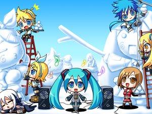 Rating: Safe Score: 55 Tags: akita_neru chibi group hatsune_miku kagamine_len kagamine_rin kaito male meiko music snow snowman twintails vocaloid yowane_haku User: HawthorneKitty