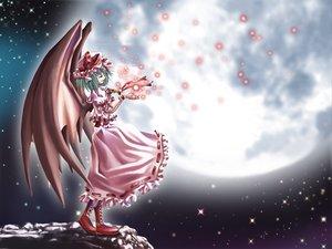 Rating: Safe Score: 8 Tags: aozora_market boots dress green_hair hat moon remilia_scarlet short_hair touhou vampire wings wristwear User: Oyashiro-sama