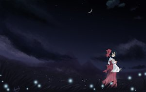 Rating: Safe Score: 45 Tags: black_hair bow clouds dark grass hakurei_reimu japanese_clothes miko moon night red_eyes short_hair signed sky stars touhou watermark User: Furlong