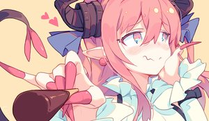 Rating: Safe Score: 69 Tags: aqua_eyes blush close demon elizabeth_bathory_(fate) fate/grand_order fate_(series) food horns litsvn long_hair pink_hair pocky pointed_ears tail User: RyuZU