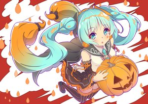 Rating: Safe Score: 36 Tags: aqua_eyes aqua_hair halloween hatsune_miku long_hair pumpkin skirt tattoo thighhighs tie twintails vocaloid zeolch User: RyuZU
