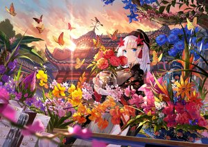 Rating: Safe Score: 133 Tags: animal aqua_eyes building butterfly clouds flowers fuji_choko hat long_hair original sky tree water waterfall white_hair User: RyuZU