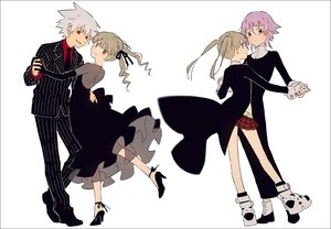 Rating: Safe Score: 35 Tags: black_eyes blonde_hair brown_eyes chrona dress elbow_gloves gloves gray_hair hakusai long_hair maka_albarn male red_eyes short_hair skirt soul_eater soul_eater_evans suit tie twintails User: otaku_emmy