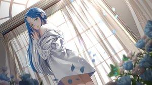 Rating: Safe Score: 45 Tags: aqua_eyes blue_hair blush flowers gonzz_(gon2rix) long_hair original rose shirt User: BattlequeenYume
