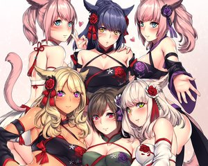Rating: Safe Score: 120 Tags: animal_ears aqua_eyes aruma_jiki black_hair blonde_hair blush breasts cleavage cropped dark_skin final_fantasy final_fantasy_xiv green_eyes group long_hair miqo'te navel pink_hair purple_eyes tail thighhighs twintails white_hair User: SciFi