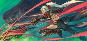 Rating: Safe Score: 40 Tags: armor bow dragon long_hair monster_hunter monster_hunter:_world odogaron_(armor) red_eyes scar signed white_hair zhaoyuan_pan User: sadodere-chan