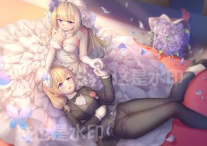 Rating: Safe Score: 71 Tags: 2girls anthropomorphism blonde_hair blush bow breasts cleavage dress elbow_gloves flowers gloves lexington long_hair necklace purple_eyes ray_(pixiv9514208) rodney rose shoujo_ai suit wedding wedding_attire zhanjian_shaonu User: BattlequeenYume