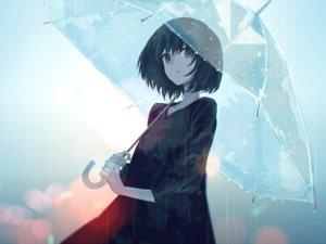 Rating: Safe Score: 94 Tags: black_hair original rain short_hair swav umbrella water User: RyuZU