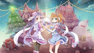 Rating: Safe Score: 33 Tags: 2girls blonde_hair blue_eyes bow braids breasts building christmas clouds dress earmuffs elbow_gloves gloves hat long_hair music original scarf short_hair sibyl skirt sky snow snowman stairs thighhighs tree twintails User: RyuZU