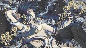 Rating: Safe Score: 44 Tags: all_male animal bird black_hair long_hair male minami_(minami373916) nude original purple_eyes User: RyuZU