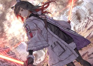 Rating: Safe Score: 87 Tags: animal_ears arknights brown_eyes brown_hair building city gloves necklace ruins sword texas_(arknights) weapon yuuki_higumo User: BattlequeenYume