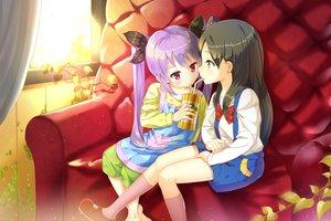 Rating: Safe Score: 64 Tags: 2girls black_hair bow crossover drink food kitashirakawa_anko kneehighs loli long_hair miyauchi_renge non_non_biyori purple_hair tamako_market totem_(fujihan) twintails User: Flandre93