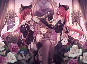 Rating: Safe Score: 101 Tags: animal_ears blush brown_eyes brown_hair butterfly catgirl cosplay demon dress flowers goth-loli halloween hat headband horns idolmaster idolmaster_shiny_colors kuwayama_chiyuki lolita_fashion long_hair magako oosaki_amana oosaki_tenka red_hair rose stockings tail wink witch_hat User: BattlequeenYume