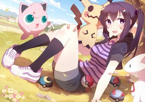 Rating: Safe Score: 138 Tags: black_hair clouds flowers grass jigglypuff kneehighs long_hair mimikyu necklace original petals pink_eyes pokemon riki-to shorts sky tree windmill User: luckyluna