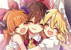 Rating: Safe Score: 31 Tags: close hakurei_reimu hug ibuki_suika kirisame_marisa kyouda_suzuka loli touhou User: mattiasc02