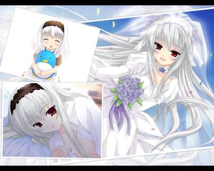 Rating: Safe Score: 30 Tags: alice_soft flowers fujimiya_rin headband headdress open_shirt red_eyes wedding_attire white_hair yokubari_saboten User: Oyashiro-sama