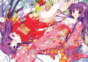 Rating: Questionable Score: 72 Tags: 2girls blush breasts cleavage flowers japanese_clothes kimono leaves long_hair original purple_hair sazaki_ichiri snow User: Wiresetc