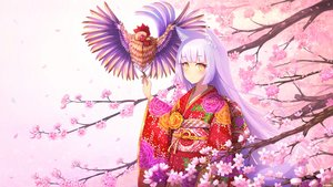 Rating: Safe Score: 49 Tags: animal animal_ears bird cherry_blossoms flowers foxgirl japanese_clothes kimono long_hair original petals purple_hair rizihike tail yellow_eyes User: RyuZU