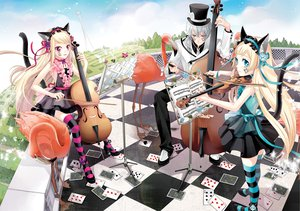 Rating: Questionable Score: 89 Tags: alice_in_wonderland animal animal_ears bicolored_eyes bird blonde_hair blue_eyes catgirl cocoon crossover hiver_laurant hortense instrument loli lolita_fashion long_hair pink_eyes ribbons sound_horizon tail tattoo thighhighs twins violette User: Tensa