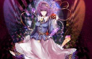 Rating: Safe Score: 7 Tags: amaseu_(be_bunny) flowers komeiji_satori purple_eyes purple_hair short_hair skirt touhou User: RyuZU