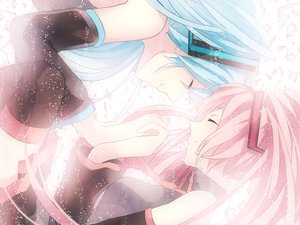 Rating: Safe Score: 31 Tags: achiki aqua_hair hatsune_miku pink_hair sakura_miku vocaloid yuki_miku User: FormX