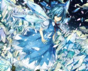 Rating: Safe Score: 72 Tags: 6u_(eternal_land) blue_eyes blue_hair cirno dress fairy ribbons short_hair touhou wings User: Tensa