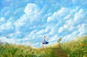 Rating: Safe Score: 112 Tags: bou_nin clouds dress grass original ponytail scenic sky stairs umbrella User: FormX