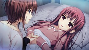 Rating: Safe Score: 35 Tags: 2girls bed blue_eyes brown_eyes brown_hair game_cg hayashi_tomoko koi_de_wa_naku long_hair makishima_yumi pajamas red_hair short_hair tomose_shunsaku User: Katsumi