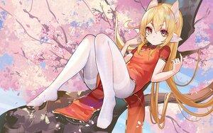 Rating: Safe Score: 49 Tags: animal_ears blonde_hair cherry_blossoms chinese_clothes chinese_dress dress flowers loli long_hair moyamoya_(moya11158375) original pantyhose signed tree yellow_eyes User: BattlequeenYume