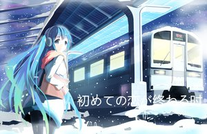 Rating: Safe Score: 120 Tags: blue_eyes blue_hair hatsune_miku headphones scarf siji_(szh5522) snow tears train vocaloid when_the_first_love_ends_(vocaloid) User: FormX