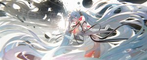 Rating: Safe Score: 59 Tags: elbow_gloves gloves hatsune_miku japanese_clothes kvpk5428 long_hair twintails vocaloid User: BattlequeenYume