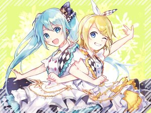 Rating: Safe Score: 15 Tags: 2girls aqua_eyes aqua_hair blonde_hair blue_eyes dress hatsune_miku kagamine_rin long_hair short_hair twintails vocaloid yoishi_(fuchi39) User: Maboroshi