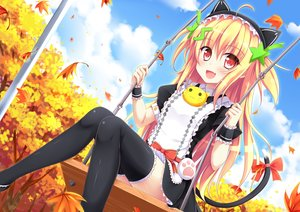 Rating: Safe Score: 61 Tags: animal_ears autumn blonde_hair blush bow catgirl clouds dress fang headdress leaves long_hair maid nanairo_fuusen red_eyes sky tail thighhighs tree User: RyuZU