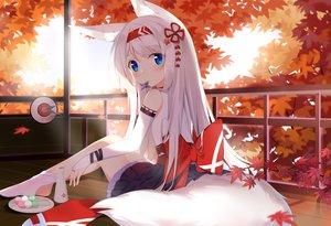 Rating: Safe Score: 85 Tags: animal_ears autumn blue_eyes blush drink food foxgirl fufumi japanese_clothes leaves long_hair original sake white_hair User: BattlequeenYume