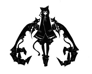 Rating: Safe Score: 63 Tags: bow kiku_(kicdoc) monochrome tail wings User: PAIIS