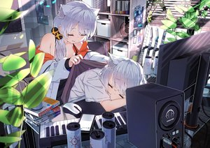 Rating: Safe Score: 55 Tags: 2girls animal_ears computer gray_hair hoji_(hooooooooji1029) instrument long_hair no_bra open_shirt original piano sleeping User: Fepple